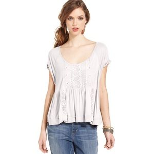 Free People White crochet beaded front blouse